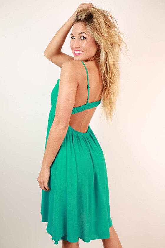 Surprise Date Night Open Back Dress in Turquoise
