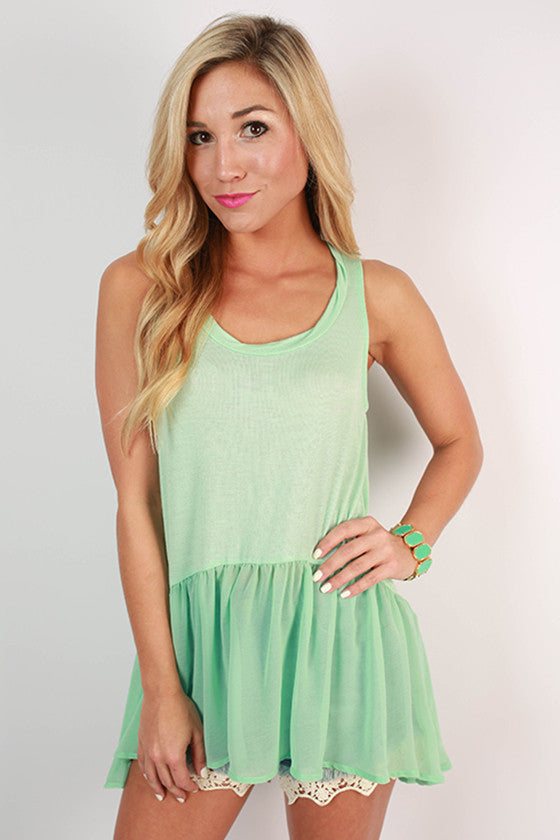 Cosmos & Chit Chat Hi-Lo Tank in Mint