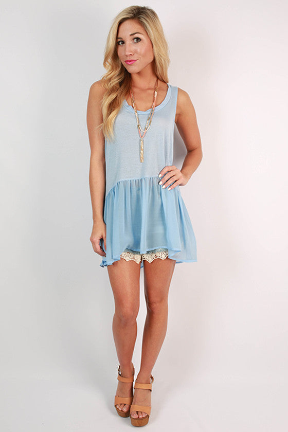 Cosmos & Chit Chat Hi-Lo Tank in Sky Blue
