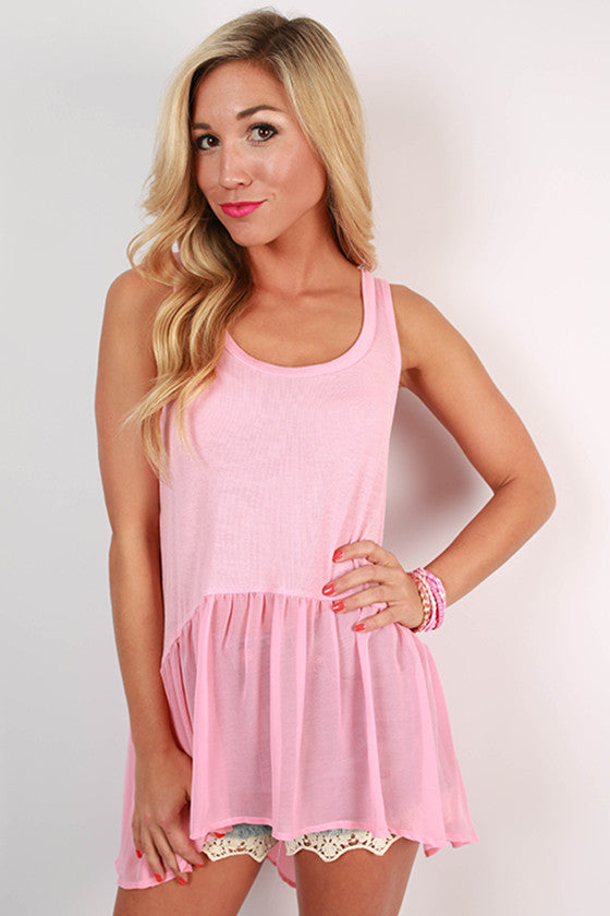 Cosmos & Chit Chat Hi-Lo Tank in Deep Blush