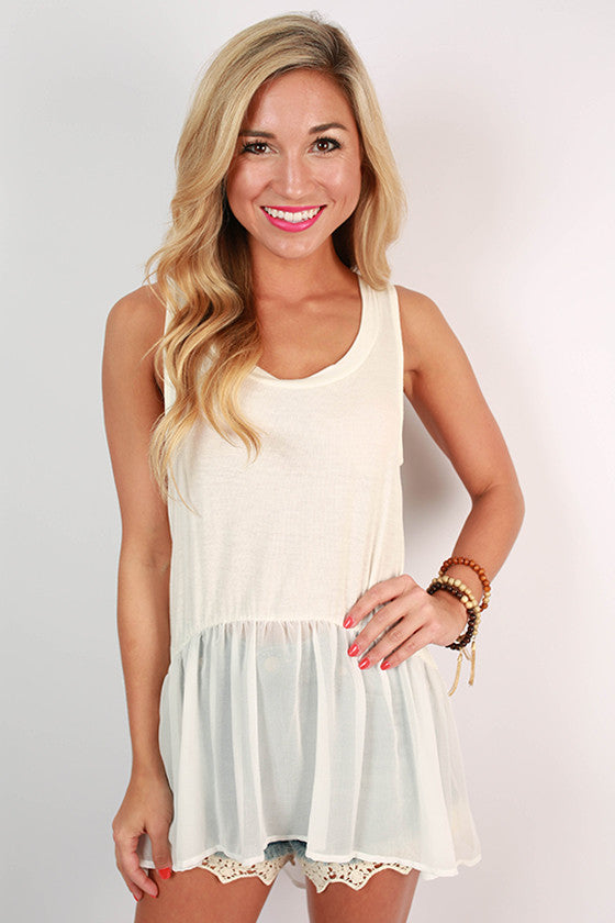 Cosmos & Chit Chat Hi-Lo Tank in White