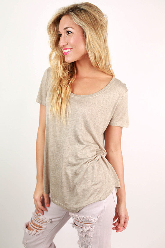 Barbados Bliss Scoop Neck Basic Tee in Taupe