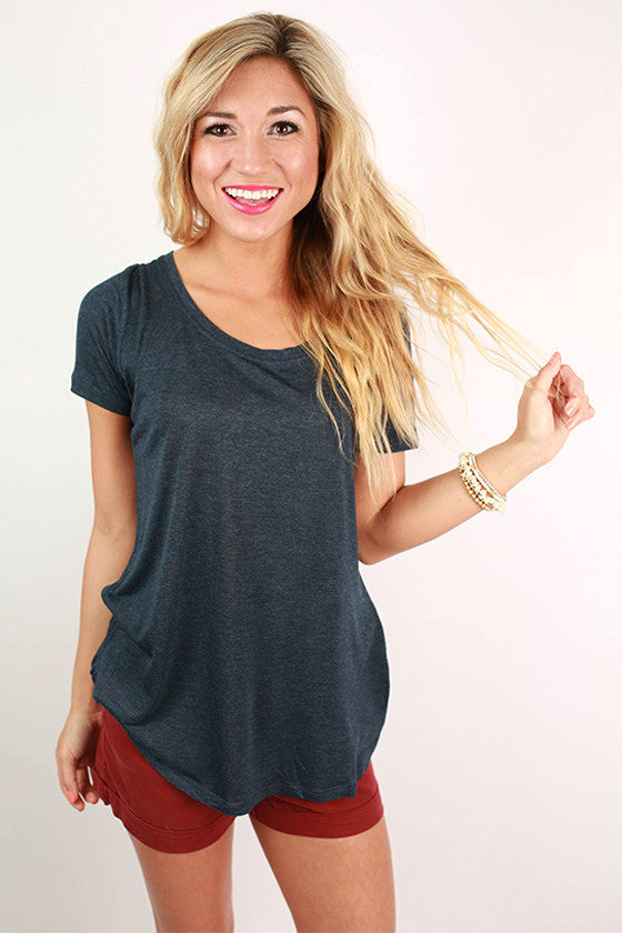 Barbados Bliss Scoop Neck Basic Tee in Indigo Blue