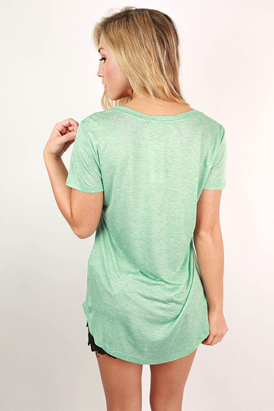 Barbados Bliss Scoop Neck Basic Tee in Mint