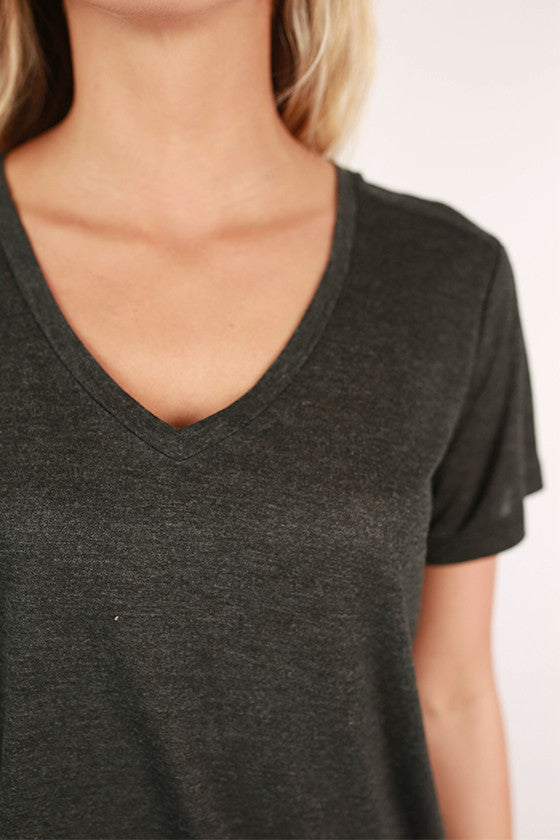 Let It Be V-Neck Basic Tee in Charcoal