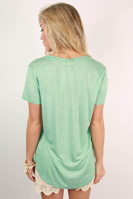 Let It Be V-Neck Basic Tee in Mint