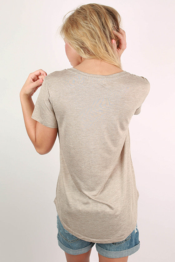 Let It Be V-Neck Basic Tee in Taupe