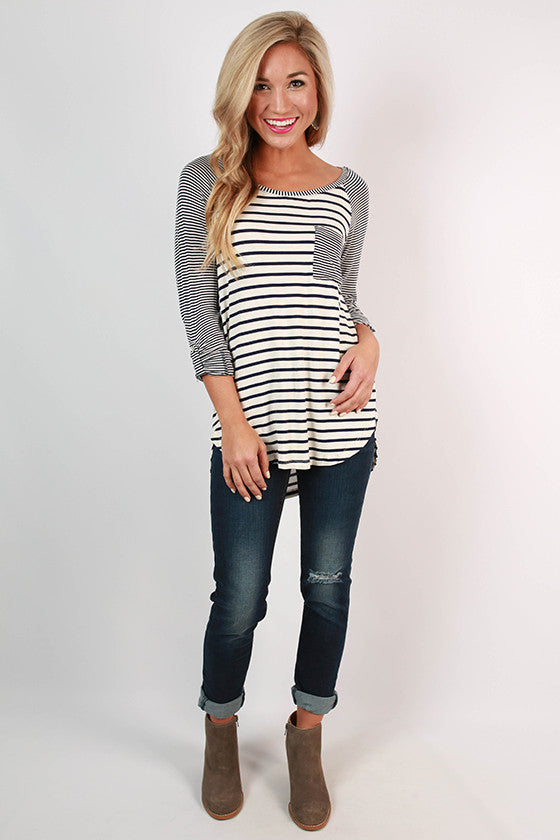Ballpark Babe Stripe Baseball Tee in Navy