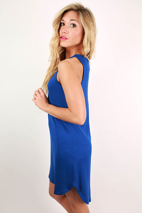 Sweet Escape Hi-Lo Tank Dress in Royal Blue