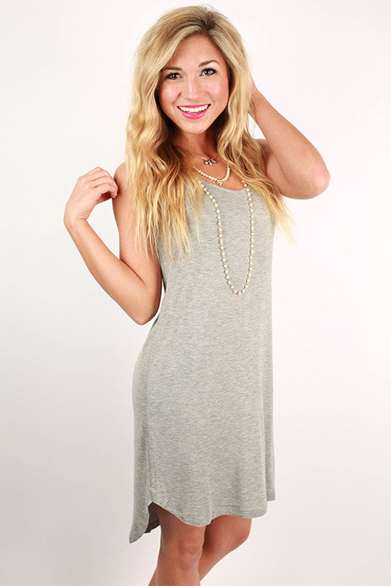 Sweet Escape Hi-Lo Tank Dress in Grey