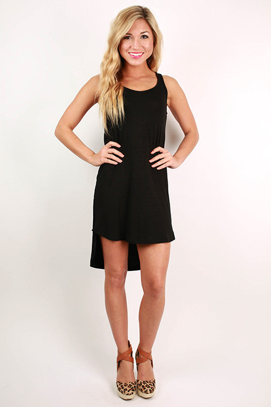 Sweet Escape Hi-Lo Tank Dress in Black