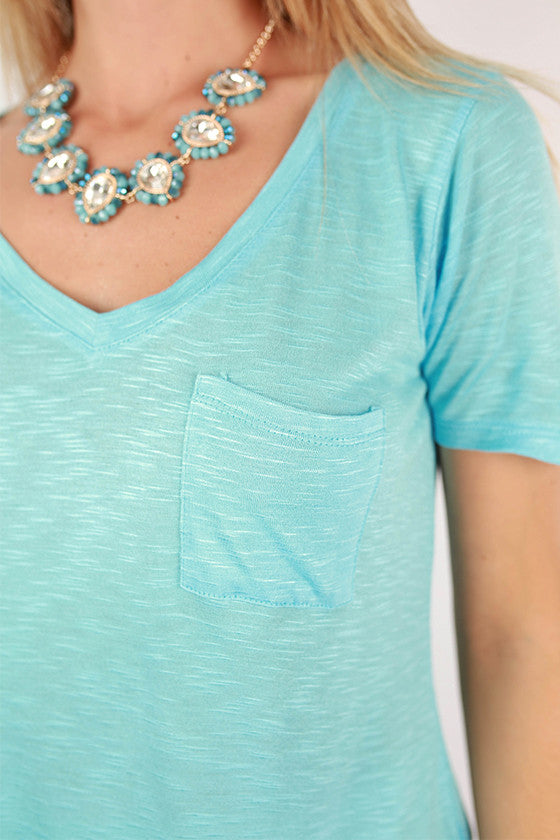As Good As It Gets V-Neck Pocket Tee in Sky Blue