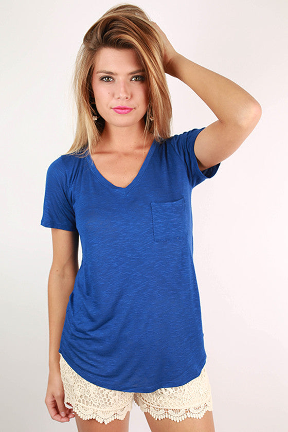 As Good As It Gets V-Neck Pocket Tee in Sapphire