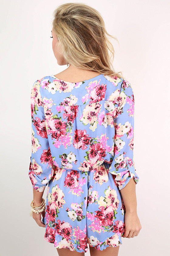 What A Doll Floral Romper in Periwinkle