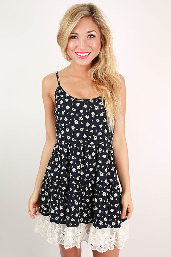 Over & Beyond Floral Dress in Navy