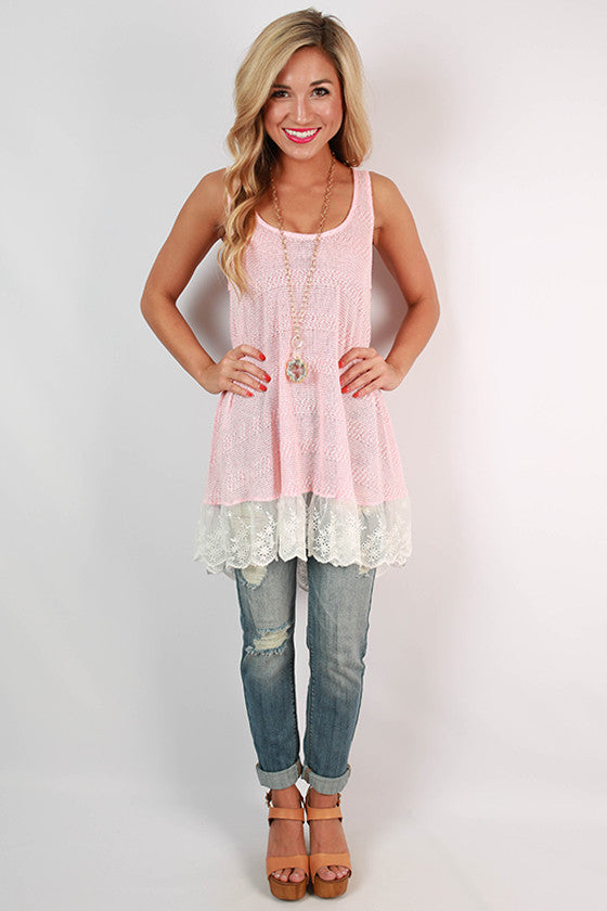 Swoon Over You Lace Trim Tunic in Peach