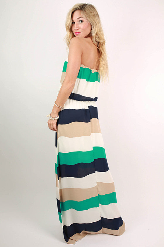All I Ever Wanted Stripe Maxi Dress in Jade