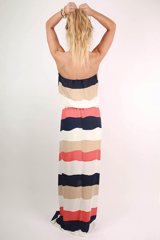 All I Ever Wanted Stripe Maxi Dress in Tangerine