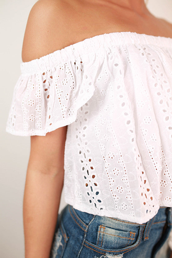 Soho Sipping Crochet Crop Top in White