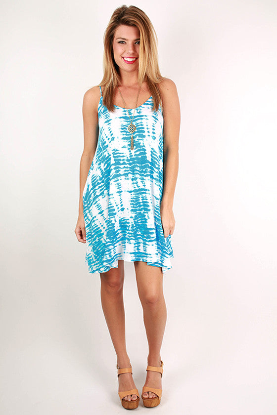 Sherbet Sunsets Tank Dress in Ocean Blue