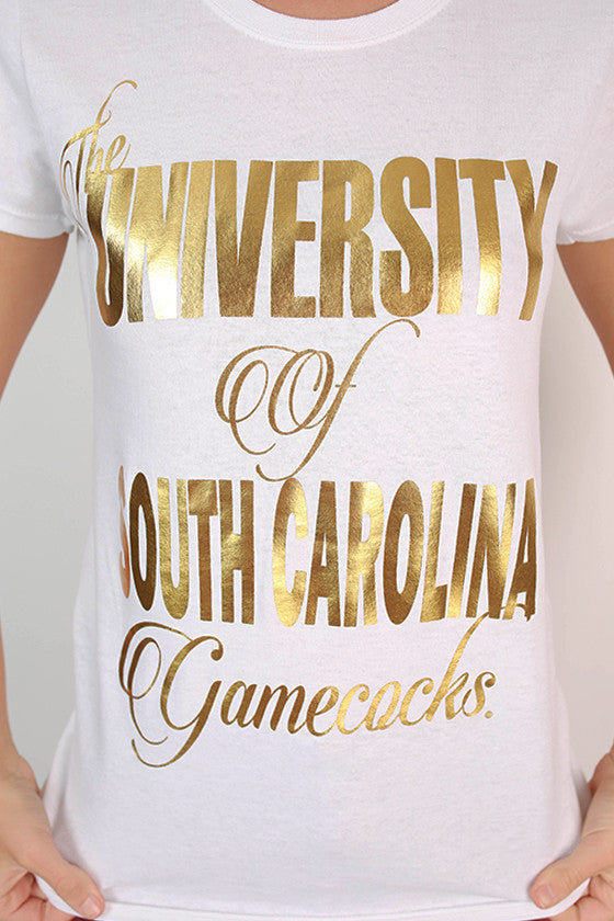 Metallic Foil Crew Tee University of South Carolina