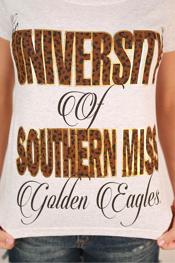 Leopard & Foil Scoop Tee University of Southern Mississippi