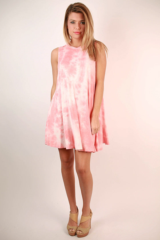 Road Trip Ready Tie Dye Tank Dress in Coral