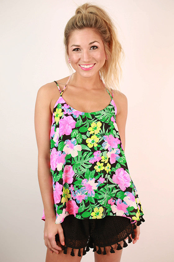 Floral Expectations Print Flutter Tank in Black