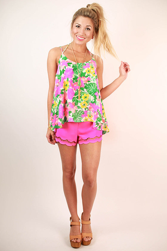 Floral Expectations Print Flutter Tank in White