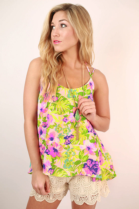 Floral Expectations Print Flutter Tank in Pink