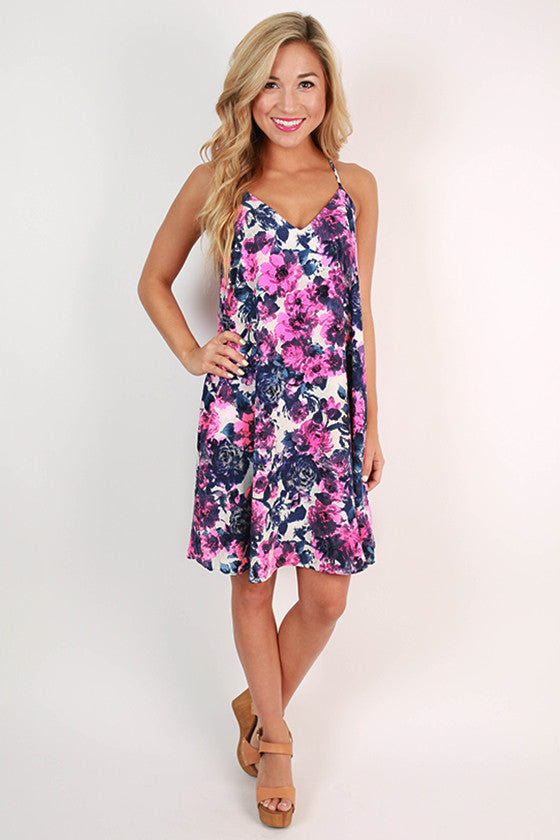 Keeping Secrets Floral Dress in Neon Pink