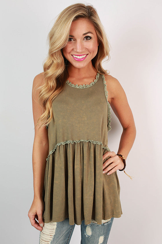 Fashion Queen Tank Top in Olive