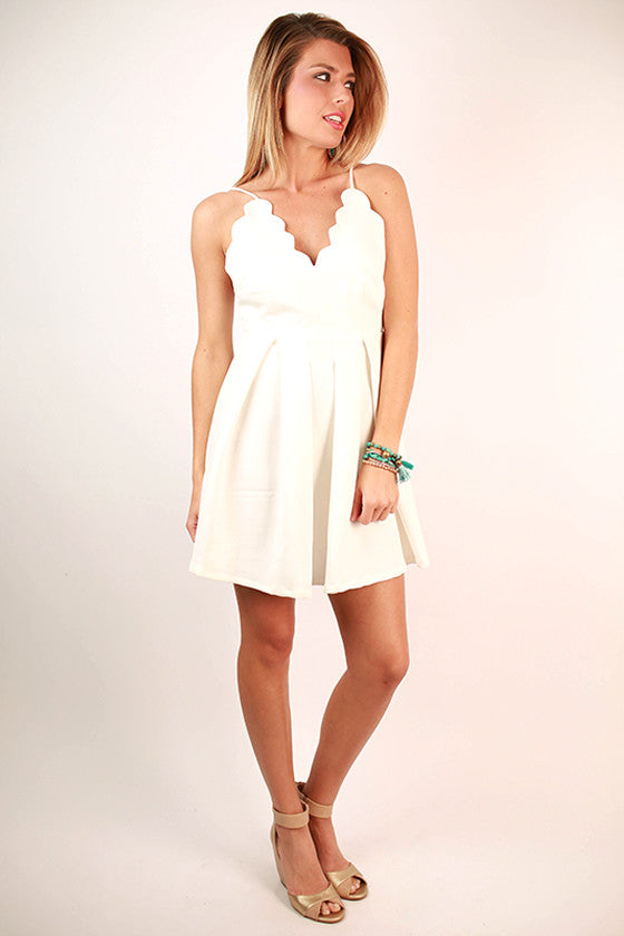 Seaside Love Scalloped Spaghetti Strap Dress in White