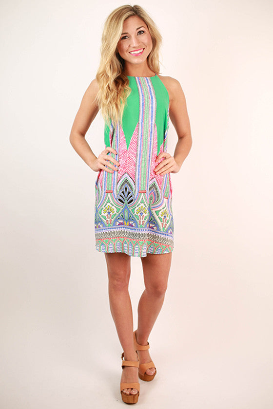 Weekend In Santorini Shift Dress in Turquoise