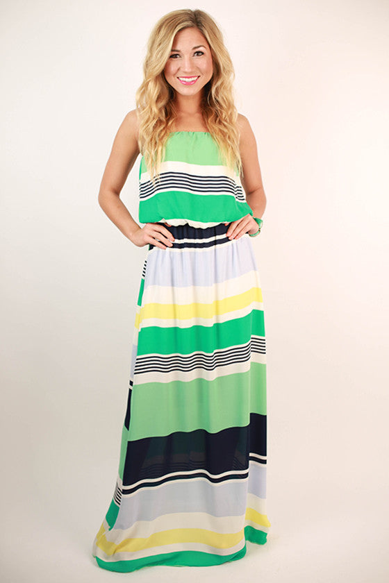 So Romantic Stripe Maxi Dress in Turquoise