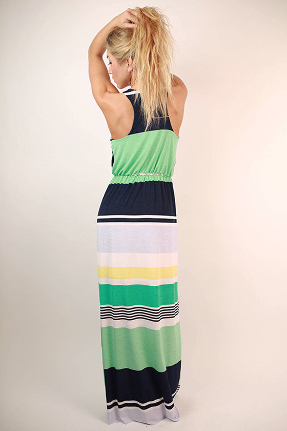 Shake It Up Stripe Maxi Dress in Turquoise