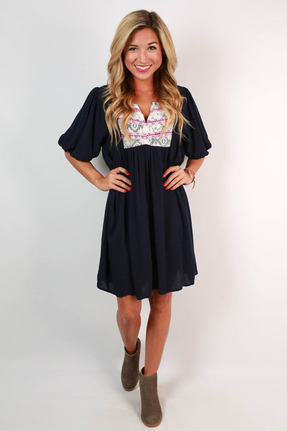 Gotta Have It Lace Dress in Navy