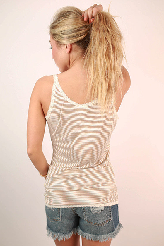 Luxury Stripe Lace Trim Tank in Taupe