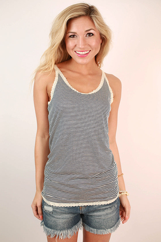 Luxury Stripe Lace Trim Tank in Navy