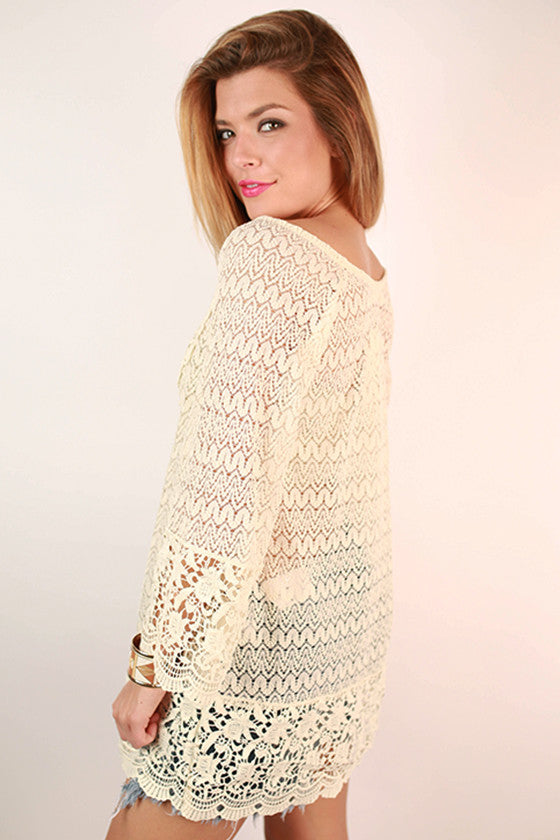 Float On Lace Tunic in Ivory