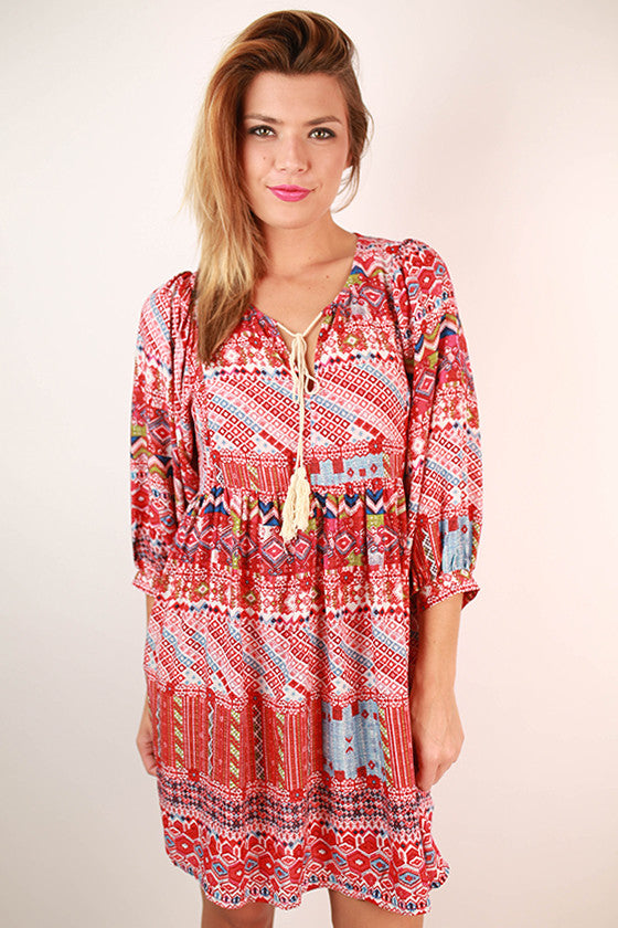 Sweet Like Sunsets Baby Doll Dress in Red