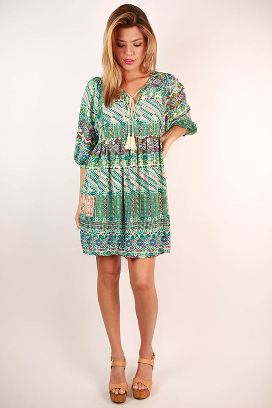 Sweet Like Sunsets Baby Doll Dress in Jade