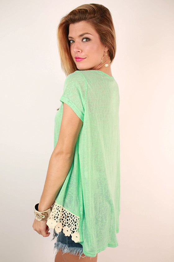 Keep My Secrets Lace Trim Tee in Mint