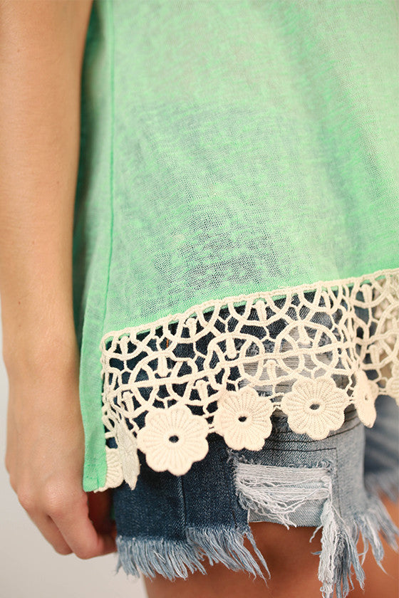 Keep My Secrets Lace Trim Tee in Mint • Impressions Online