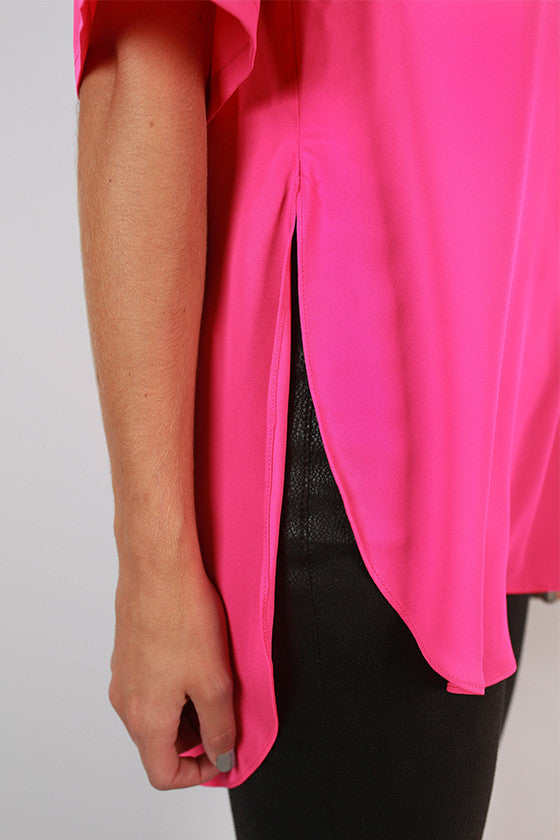 Day To Night Hi-Lo Top in Hot Pink