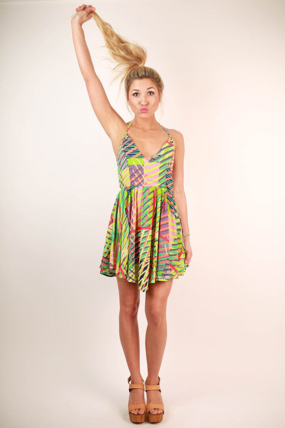 St. Martin Getaway Print Dress in Green