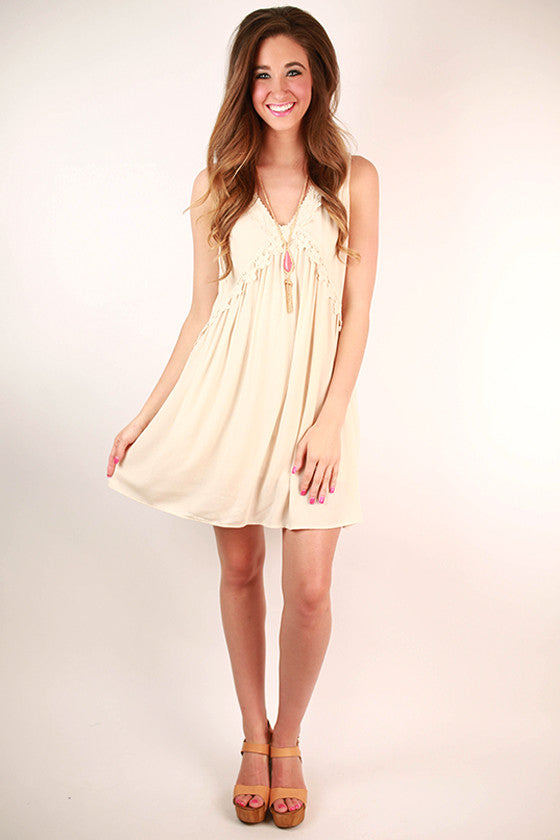 Party All Night Sleeveless Dress in Stone