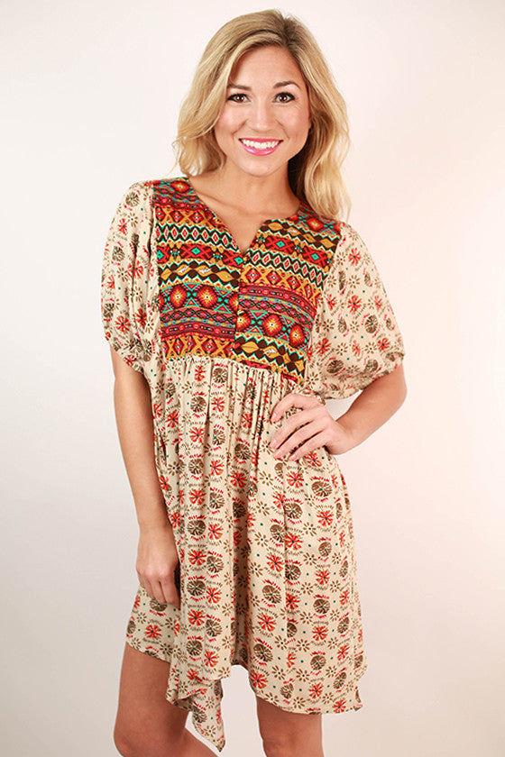 It's For Keeps Print Tunic Dress in Beige