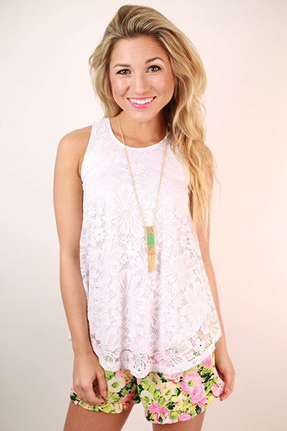 Take Me Out Lace Tank in White