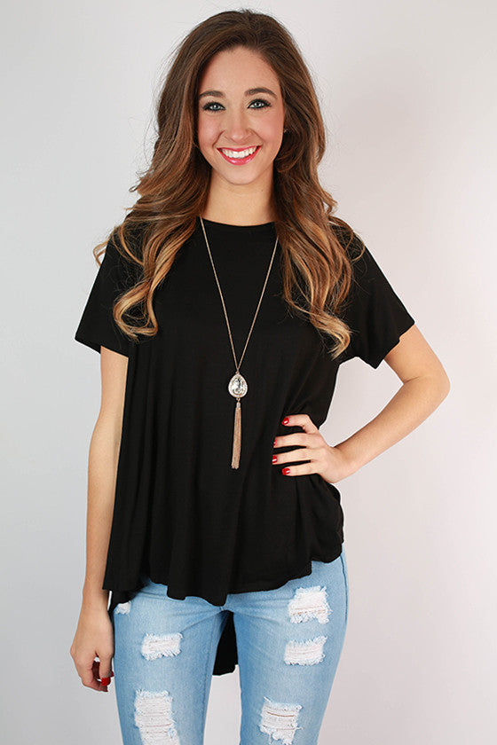 The Jetsetter Hi-Lo Top in Black